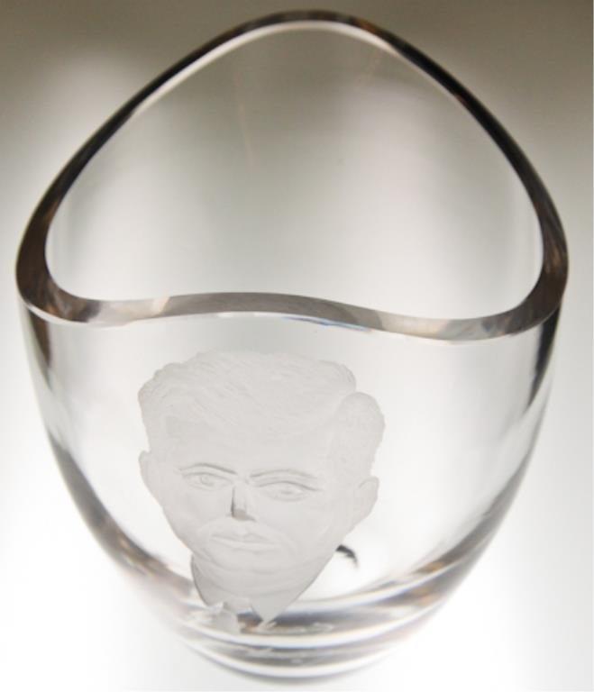 Steuben Vase etched with John F. Kennedy's Profile - 2