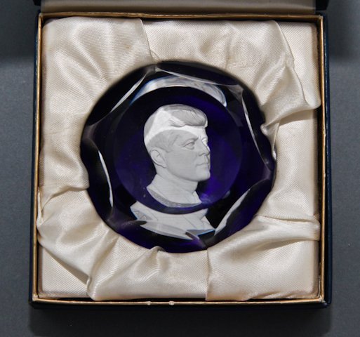 John F. Kennedy Baccarat Sulphide Paperweight