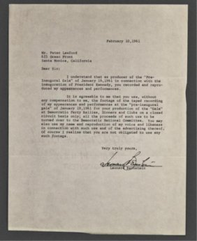 Leonard Bernstein Signed Letter Of Release