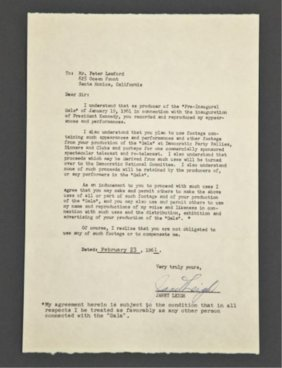 Janet Leigh Signed Letter Of Release