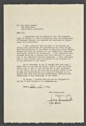 Jimmy Durante Signed Letter Of Release
