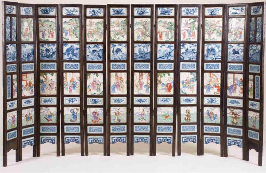 Rare Twelve-Part Tiled Screen