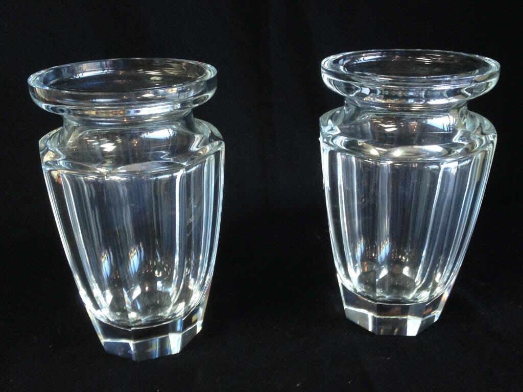 Pair 20th C. Clear Moser Cut Vases