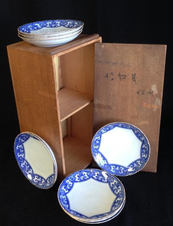 Set of Ten Japanese Blue and White  Bowls