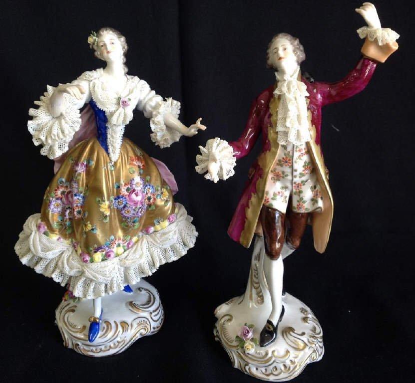 20th C Pair of Porcelain Figurines