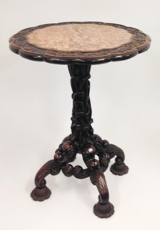 19th C Asian Carved Zitan Wood Marble Top Table