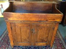 Early 19th C Country Primitive Pine Dry Sink