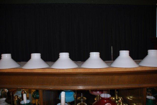 (9) Similar Double Ring Slant Milk Glass Shades