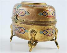 Bright Cut and Enameled Bronze Footed Jewelry Box
