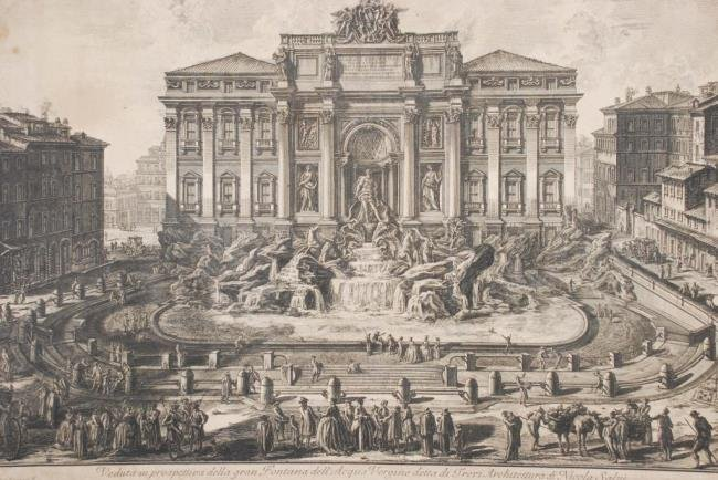 Piranesi Etching of the Trevi Fountain