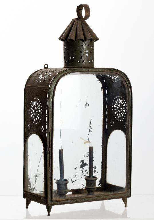 EARLY PIERCED TIN LANTERN FITTED FOR TWIN CANDLES
