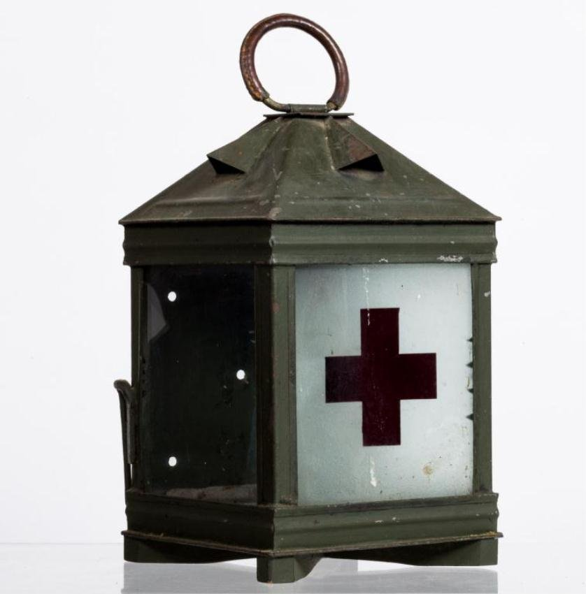 RED CROSS LANTERN WITH CANDLE HOLDER