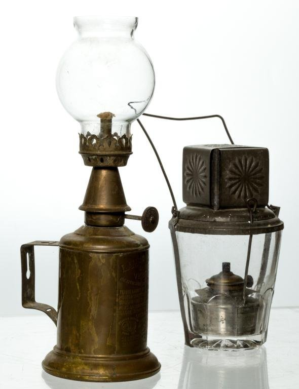 """BRASS """"LAMP PIGEON"""" AND 1874 """"STAR TUMBLER"""""""