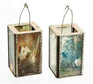 PAIR OF HANGING MINIATURE TIN  GLASS LANTERNS