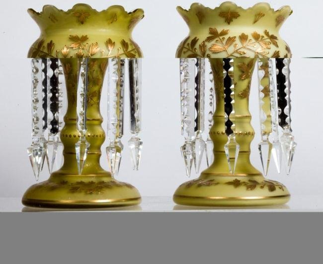PAIR OF CASED GLASS ENAMELED MANTLE LUSTERS
