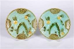 Pair of Salins Majolica Parakeet Dessert Plates