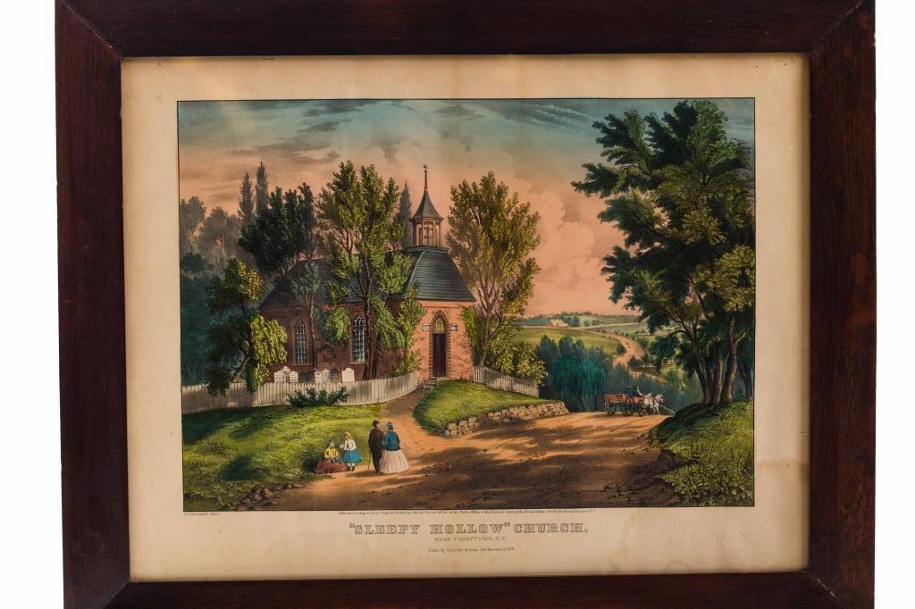 """1867 Currier & Ives """"Sleepy Hollow"""" Church"""
