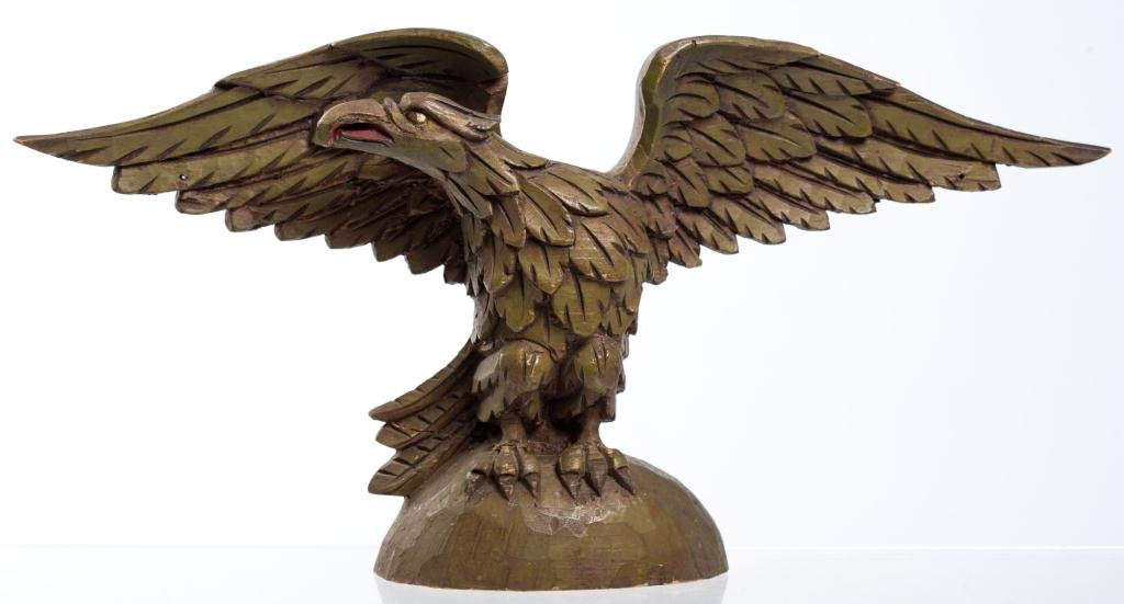(Early 20thc) Carved & Painted Wooden Eagle Finial