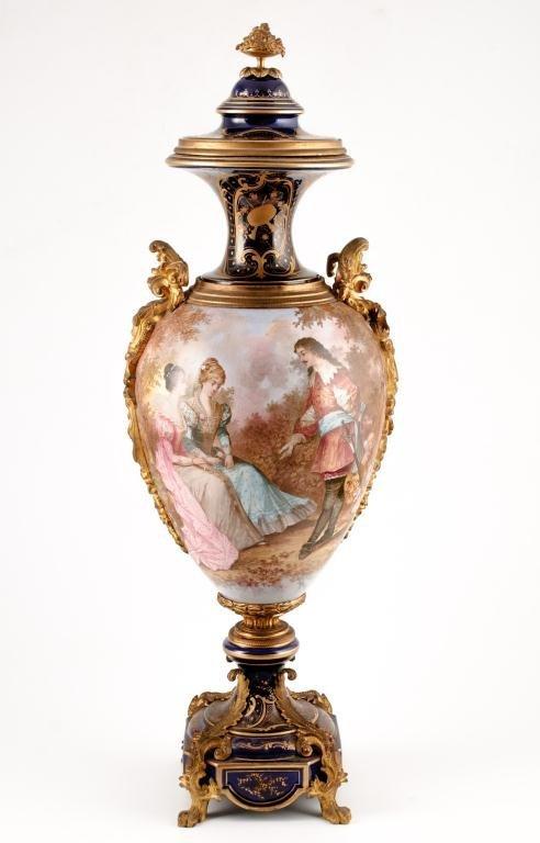 Sevres Quality Ormolu Mounted Porcelain Urn