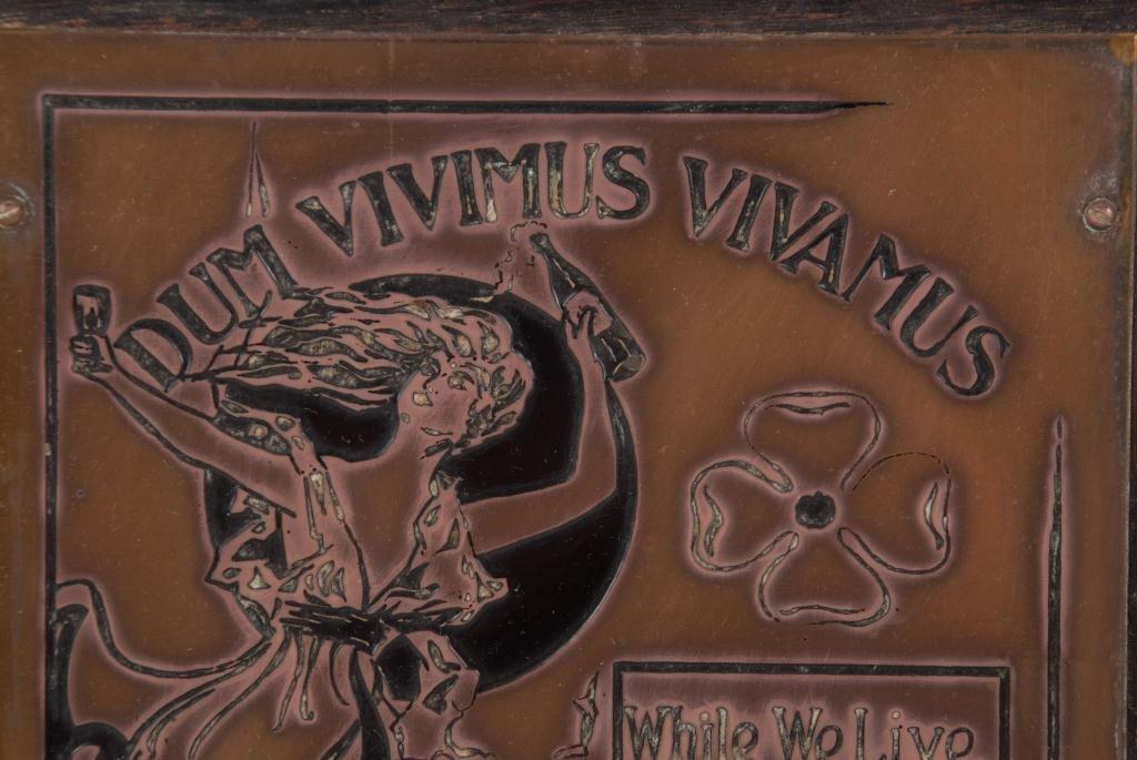 """""""Dum Vivimus Vivamus"""" Brass Wall Plaque - 5"""