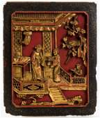 (19th c.) Chinese Carved, Gilt and Painted Panel
