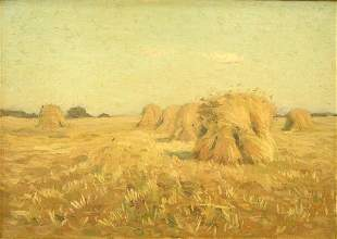 Oil on canvas by Charles Davis, 1856-1933, 19th cent