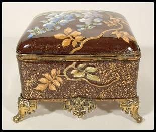 An English aesthetic movement box with floral enamel