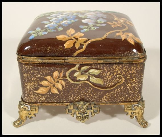 4: An English aesthetic movement box with floral enamel