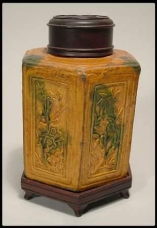 A Chinese octagonal glazed tea caddy ca. 19th centur