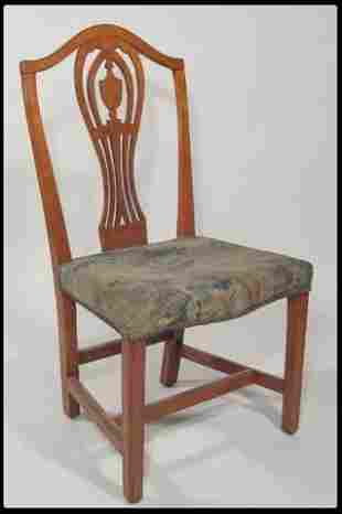 Maple and walnut side chair with upholstered seat in