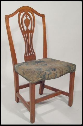 6: Maple and walnut side chair with upholstered seat in