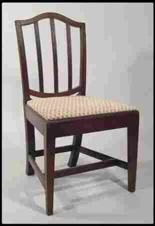 English Hepplewhite carved mahogany side chair. The