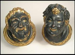 Pair of Continental painted and gilt Blackamoor smil