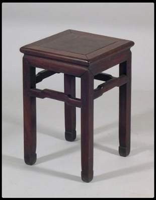 Chinese export hand carved wood stand. The square t