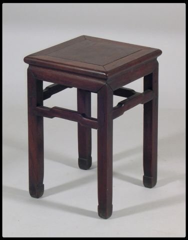 10: Chinese export hand carved wood stand. The square t