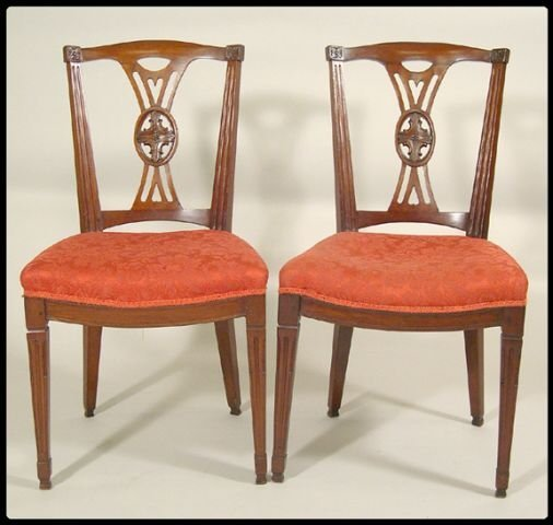 13: Pair of Continental carved mahogany side chairs, se