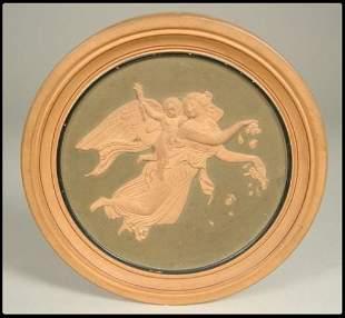 "Miniature round terra cotta plaque, 3 1/2""D from th"