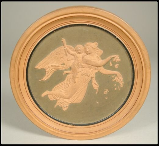 "15: Miniature round terra cotta plaque, 3 1/2""D from th"