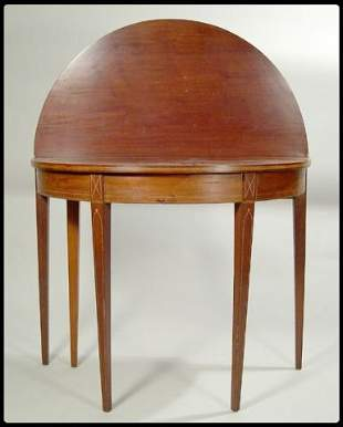 Hepplewhite mahogany inlaid d-form five leg card ta