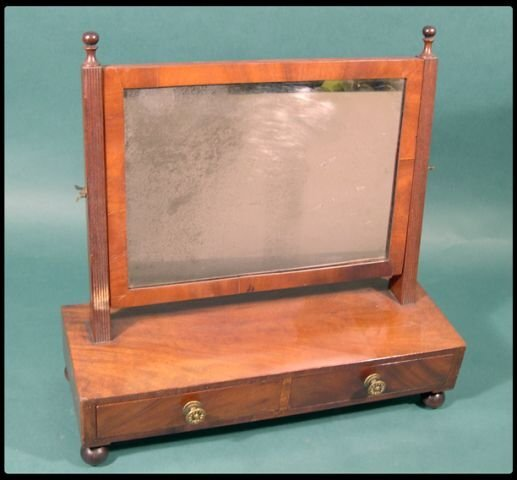 18: Federal mahogany dressing glass.  The upright reede