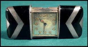 Cartier art deco enamel and silver Swiss made trave