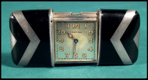 23: Cartier art deco enamel and silver Swiss made trave