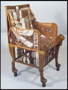 300: A magnificent chair of Turkish walnut wood and ric