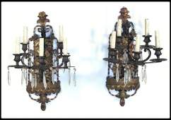 379 Pair of brass and iron five light wall sconces  T