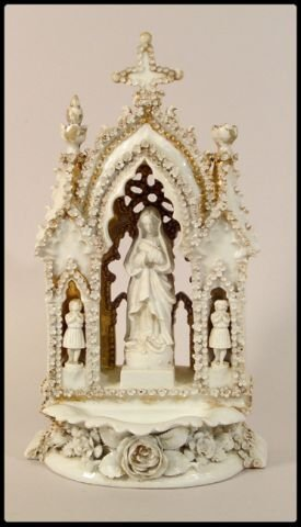 464: White porcelain and gilt Holy Water font. Madonna