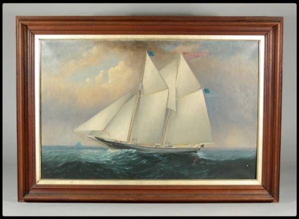 651: Elisha Taylor Baker, Connecticut. 19th Century oil