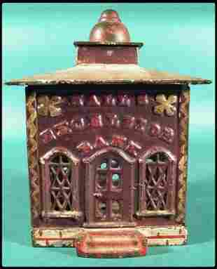 """Cast iron bank, """"Hall's Excelsior Bank"""", with orig"""