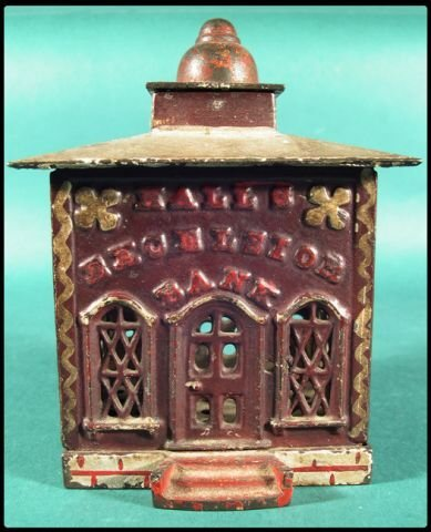 """652: Cast iron bank, """"Hall's Excelsior Bank"""", with orig"""