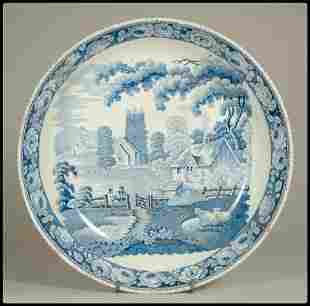 A blue staffordshire transfer decoarted round dish