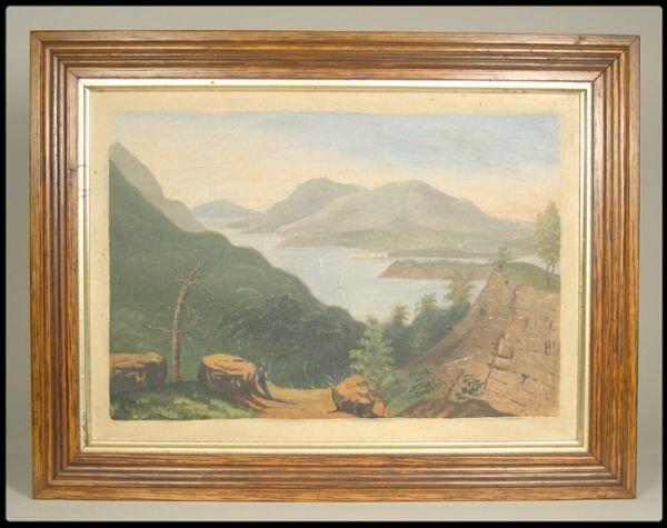 658: Oil on canvas, Hudson River School primitive, 10 3